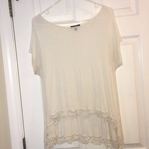 White shirt with floral lacing